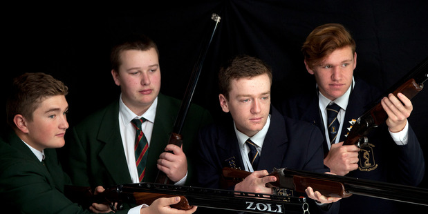 Shooters (left to right) Ryan Crapp and Blair Ellison from Katikati College and Devin Holland and Blair Williamson from Tauranga Boys' College. PHOTO/ANDREW WARNER