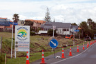 NOW: About 12 Pohutukawa donated in 2002 were chopped down and mulched on Thursday. PHOTO/ANDREW WARNER