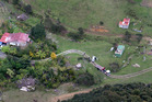 General aerial view of a crime scene in the tiny settlement of Kinohaku, near Kawhia, where three bodies have been discovered overnight. Photo / Alan Gibson