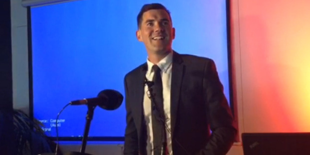 Loading Newly elected Wellington mayor Justin Lester in his victory speech after being voted in today. Photo / via video