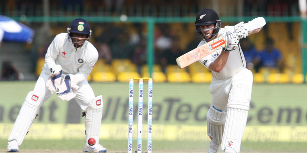 Loading Kane Williamson Captain of New Zealand bats during the 3rd day of the first test match India against New Zealand in Kanpur. Photo / Photosport