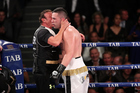 Joseph Parker and trainer Kevin Barry after beating Alexander Dimitrenko. Photo / www.photosport.co.nz
