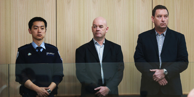 Stephen Borlase (centre) and Murray Noone (right) at Auckland High Court.
