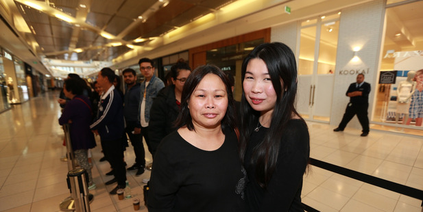 Mandy Siu and Nellie Siu were the first customers waiting for Zara to open at Sylvia Park today. Photo / Doug Sherring