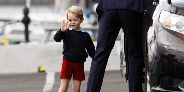 Loading Prince George waves to the crowd as Britain's Royal family prepares to depart Victoria, British Columbia. Photo / AP