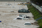 Vehicles are submerged in floodwaters caused by Typhoon Chaba in Gyeongju, South Korea. Photo / AP