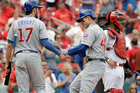 Anthony Rizzo, centre, and teammate Kris Bryant (17) have been key to the Chicago Cubs' success this season. Photo / AP