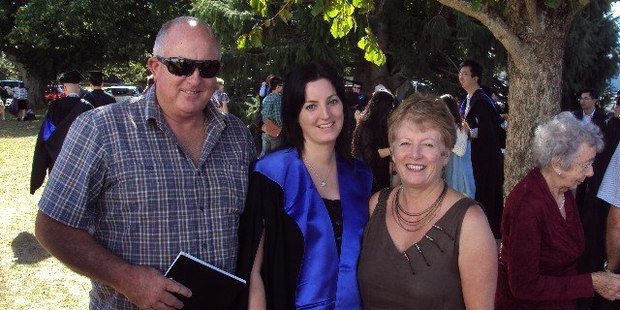 Keith Bremner is in Waikato hospital after a stabbing in Otorohanga. He is pictured here with daughter Loren, and wife Clare, who was killed in the attack. Photo / via Facebook