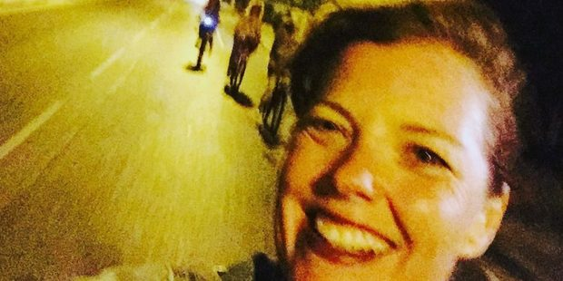Carmen Greenway pictured taking the selfie with one hand on her bike as she cycled home from dinner - moments before she hit a bumpy patch of road and lost control. Sourced 5th October 2016 NZ