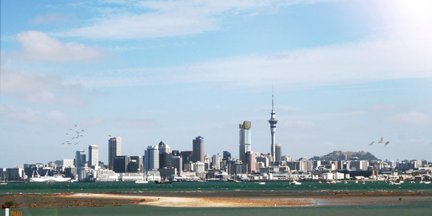 How the NDG tower could look on Auckland's skyline, to the left of the SkyTower.