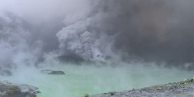 A still from video shot on White Island September 13 this year as the volcano erupts. Photo / Supplied