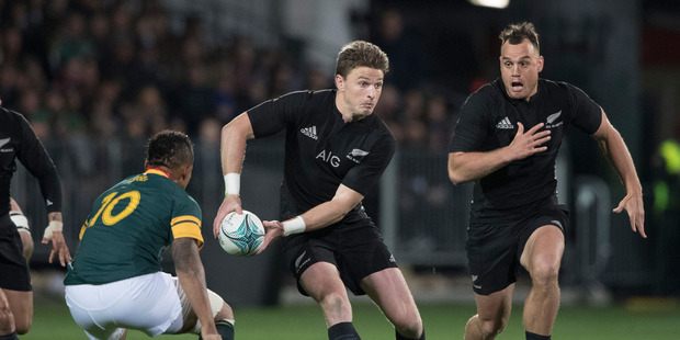 Loading All Blacks 1st-five Beauden Barrett in action against South Africa during the Rugby Championship test match between New Zealand and South Africa. Photo / Brett Phibbs.