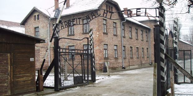 The infamous German inscription that reads 'Work Makes Free' at the main gate of the Auschwitz I extermination camp on November 15, 2014 in Oswiecim, Poland. Photo / AP