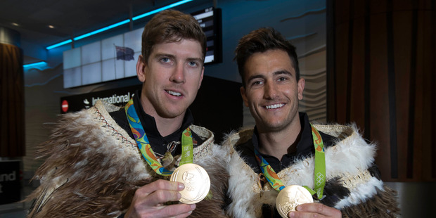 New Zealand gold medallists Peter Burling (left) and Blair Tuke after their return from the Rio Olympics. Photo / Brett Phibbs NZH