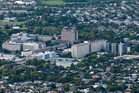 An aerial view of Canterbury University where a student has died at a hall of residence.