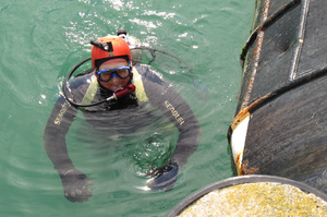 A diver examines the bottom of a boat in Northland checking for unwanted marine pests.