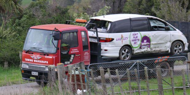 The crashed rental vehicle in rural Martinborough. Photo / Wairarapa Times-Age