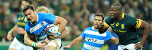 Facundo Isa of Argentina challenged by Teboho Mohoje (R) of South Africa during the Rugby Championship match between South Africa and Argentina. Photo / Photosport