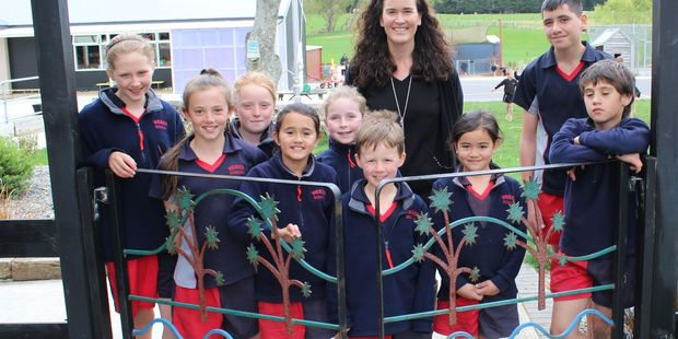 Weber School pupils with their new principal Janine Satchwell who has returned after eight years teaching in Germany