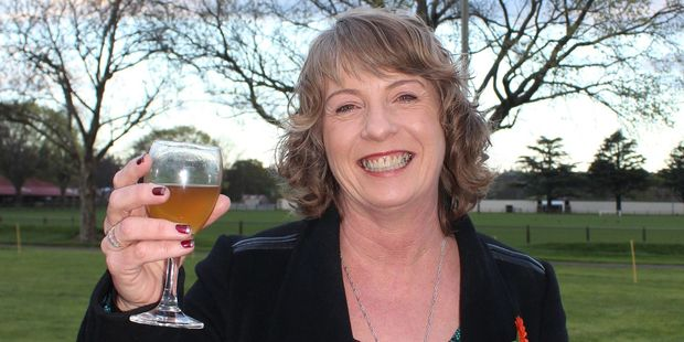 Cheers: New Tararua District mayor Tracey Collis of Eketahuna, toasts the outstanding calibre of candidates in this year's local body elections. PHOTO/CHRISTINE MCKAY