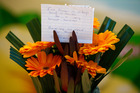 Flowers from a stranger for Beverley Lind. Photo / Michael Cunningham