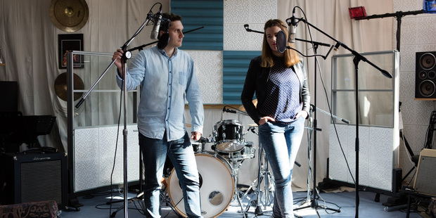 Zaryd and Cass in the studio. Photo / Roberta Thornley