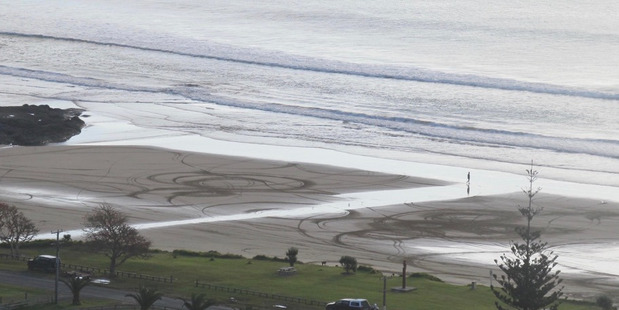 Wheelie marks on the beach at Ahipara, something the locals hope not to see this coming summer.