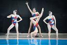 Maya Lowans, Zyleika Pratt-Smith, Karlina Steiner (on her head) and Eden Worsley - Tauranga Synchronised swimming Club's national title winning 13/14/15 Team
