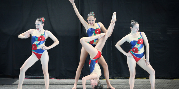 Maya Lowans, Zyleika Pratt-Smith, Karlina Steiner (on her head) and Eden Worsley - Tauranga Synchronised swimming Club's national title winning 13/14/15 Team
