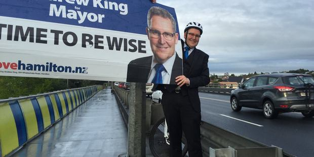 Hamilton's Andrew King - leading the mayoral race by a whisker - has led a visible campaign. Photo: Facebook