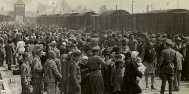 The arrival and processing of an entire transport of Jews from Carpatho-Ruthenia. Photo / AP