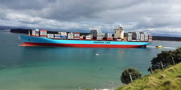 The Aotea Maersk, the largest container ship to visit New Zealand, docked in Port of Tauranga today. PHOTO/ALLISON HESS