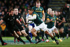 Juan de Jongh moves to centre to accommodate Damian de Allende at second five. Photo / Getty