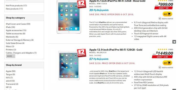 The 9.7 inch iPad Pro was promoted as a 'price offer' on the electronic retailer's website.