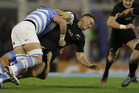 All Black Israel Dagg, with ball, is tackled by Argentina's Los Pumas Matias Alemanno. Photo / AP