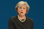 Britain's Prime Minister Theresa May speaks at the Conservative Party Conference in Birmingham. Photo / AP