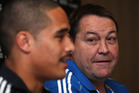 All Blacks coach Steve Hansen and Aaron Smith attend a press conference. Photo / Getty