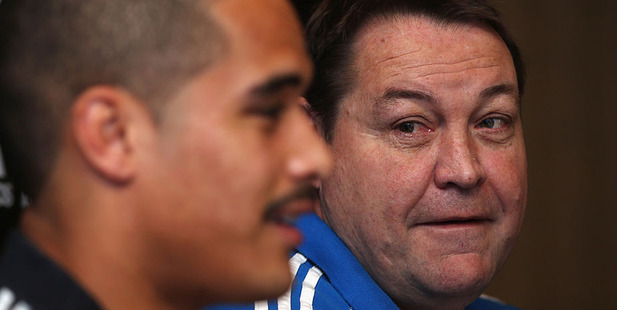 Loading All Blacks coach Steve Hansen and Aaron Smith attend a press conference. Photo / Getty
