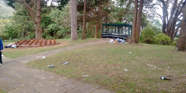 Staff took two hours to clean up rubbish and broken glass from Remembrance Ridge, at the Wellington Botanic Gardens. Photo/supplied