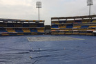 The entire outfield of Holkar Stadium was covered overnight. Photo / Andrew Alderson