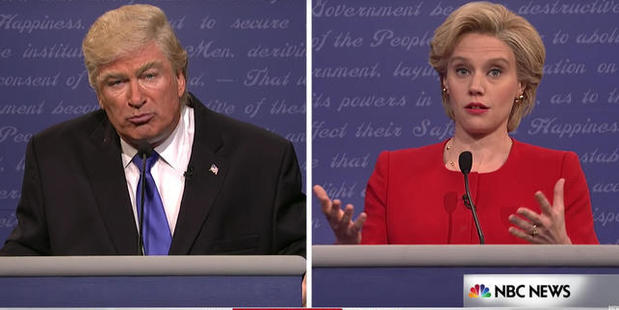 Alec Baldwin mocked Donald Trump in a parody of the Presidential Debate on Saturday Night Live. Photo / NBC News