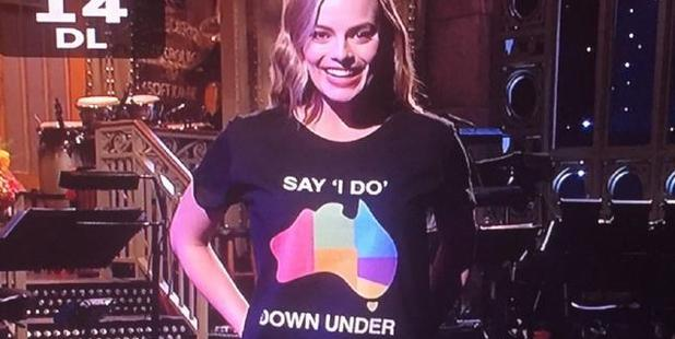 Margot Robbie in a marriage equality T-shirt on Saturday Night Live. Photo / Twitter