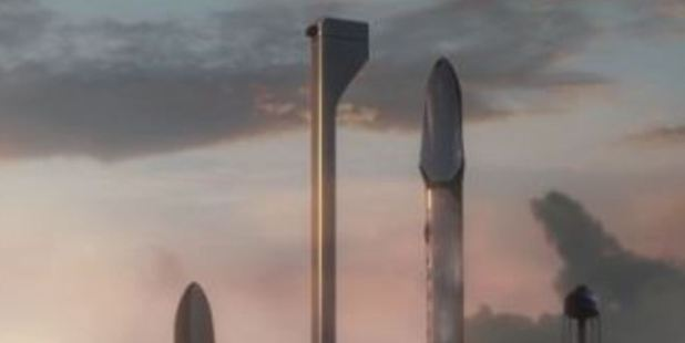 A still from Elon Musk's presentation on how SpaceX would deliver people to Mars.