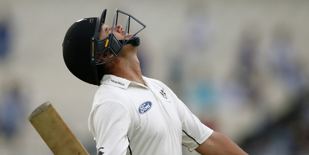 Ross Taylor leaves the ground after being dismissed in the second test against India. Photo / AP