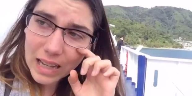 Vegan blogger Kristin Lajeunesse cries at the sight of livestock on the Interislander