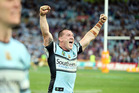 Paul Gallen celebrates at fulltime as the Sharks claim the NRL title. Photo / Photosport