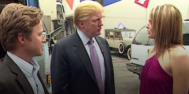 Donald Trump prepares for an appearance on 'Days of Our Lives' with actress Arianne Zucker. He is accompanied to the set by Access Hollywood host Billy Bush. Photo / Washington Post