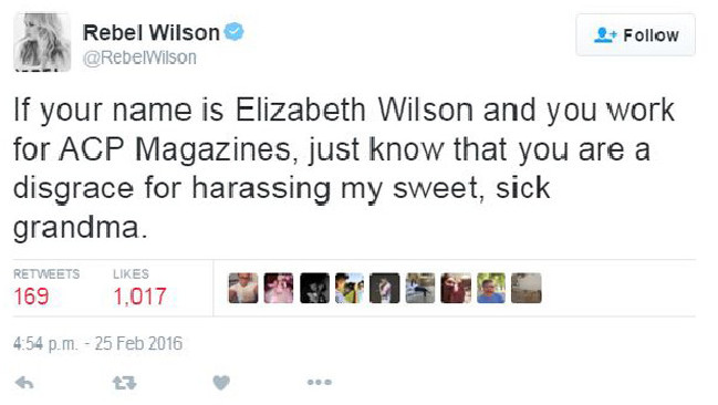 One of Wilson's defamatory tweets she is being sued for. Photo / Twitter