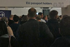 Images of the waiting crowds were shared on social media, with a number of travellers taking to Twitter to complain. Photo / George Bouras Twitter