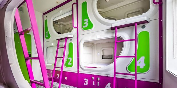 The first Jucy Snooze pod-style hotel at Christchurch Airport is set to open on November 1.